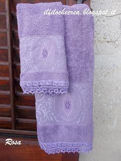 IL FILO CHE CREA: Sal dei lavori in sospeso: coppia di asciugamani con pizzo a forcella e ricamo a punto filza