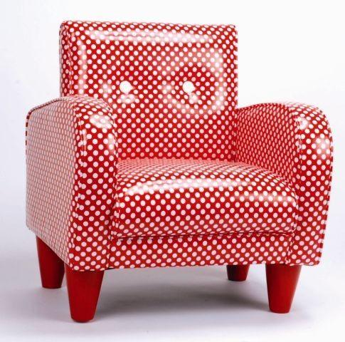 Polkadot stoel / stoeltje, rood met witte stippen NIEUW