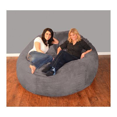 Bay Isle Home Aloa Bean Bag Lounger Upholstery: Micro Suede - Charcoal, Size: 7'
