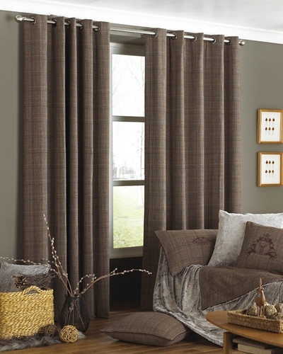 Courcheval Brown Tartan Check Lined Ring Top Curtains 168 x 183   eBay