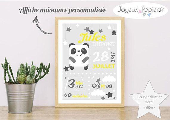 Affiche Naissance Personnalisee Chambre Bebe Enfant Modele Panda