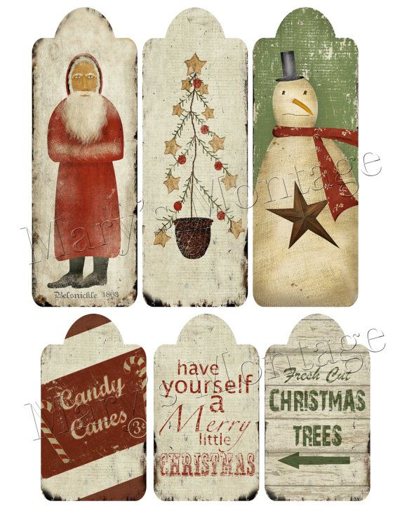 6 Primitive Folk Art tags for your Christmas & winter decorating, gift wrapping & crafts. Print on full sheet.    What you will receive: 1 300 DPI
