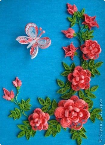 Картина, панно Квиллинг: Розы. Бумага гофрированная, Бумажные полосы. Фото 1