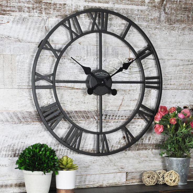Classic Roman Metallic Black Outdoor Clock