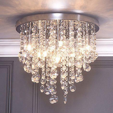 Litecraft chrome montego 9 light flush crystal ceiling light at debenhams com