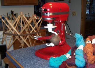 My ball winder JUST broke - this is genuis!    Lol! :)  kitchenAid for a ball winder!  KitchenAid stand mixer run on motor speed 6 balled a skein of yarn in about 45 seconds.