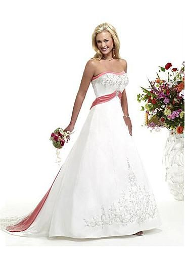 Image of Stunning Satin A-line Slightly Sweetheart Neckline Wedding Dress