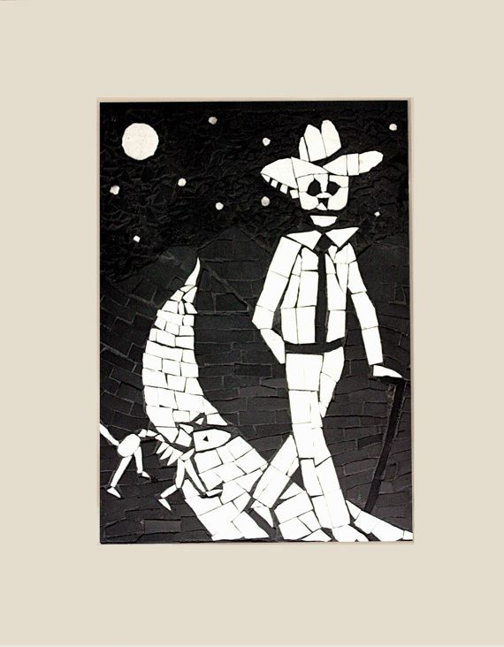 Day of the Dead print Mexican art - Black and white print with mount - Juan walking his dog