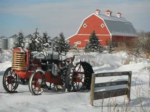 Grandpappy left his tractor rig out in the snow!