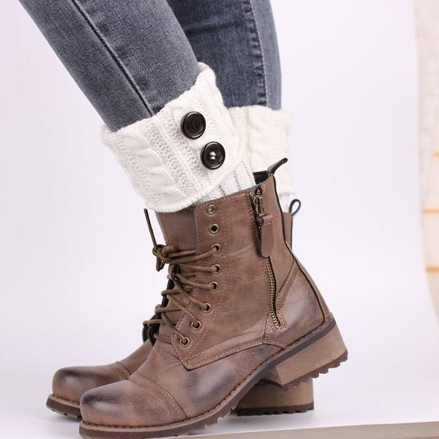 New Women Ladies Crochet Knitted Shell Design Boot Cuffs Toppers