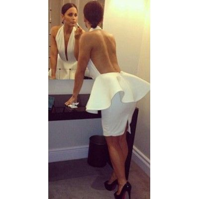 White backless peplum bandage dress