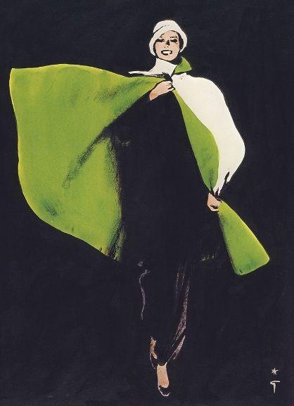 Rene Gruau Black Dress and Green Cape