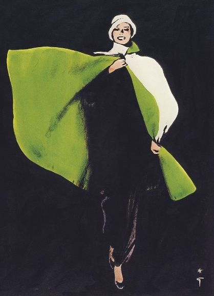 Rene Gruau Black Dress and Green Cape