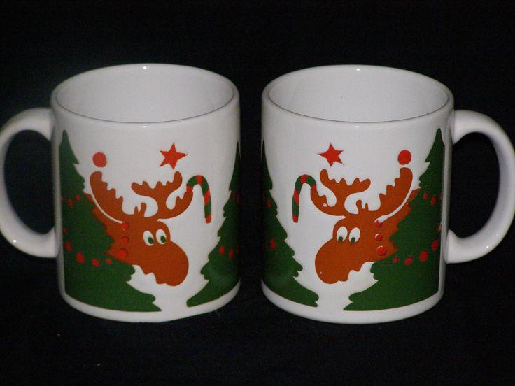 Vintage Christmas Waechtersbach Moose Mugs Set of 2 by parkie2 on Etsy