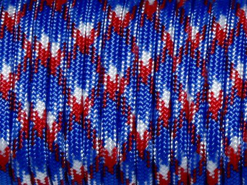 100ft 550 Paracord Parachute Cord Lanyard Mil Spec Type III 7 Strand Core (Red+Blue+White Camo). For product & price info go to:  https://all4hiking.com/products/100ft-550-paracord-parachute-cord-lanyard-mil-spec-type-iii-7-strand-core-redbluewhite-camo/