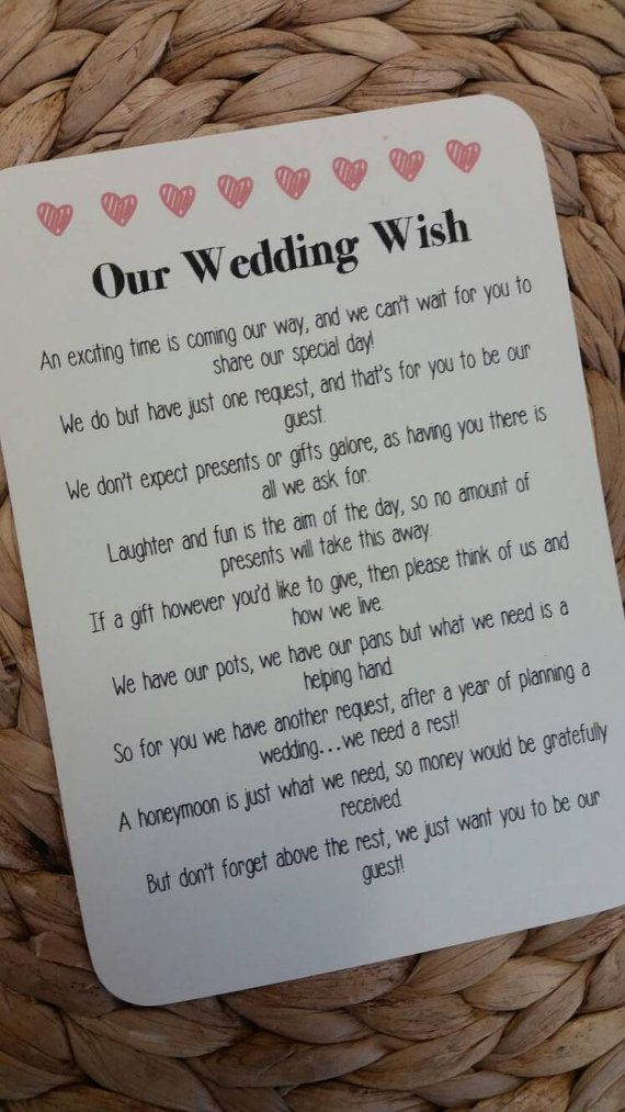 Wedding Poem Invitation Insert Money As A Gift 4 X Poems And