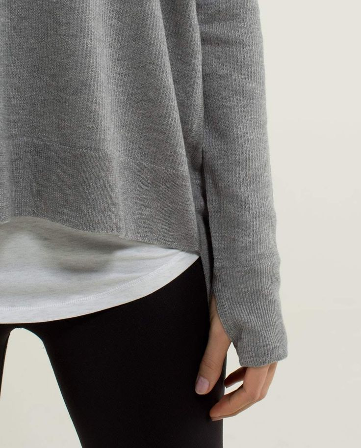White t-shirt under grey sweater, love the look!