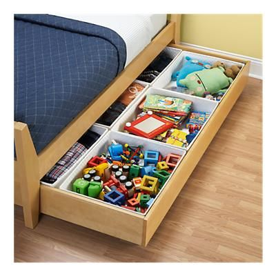 Under the bed storage for kids room. make one big drawer and use dividers for phillips clothes