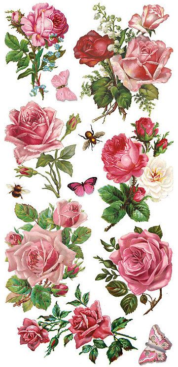 3 sheets self adhesive pink roses stickers colorful for Rose adesive