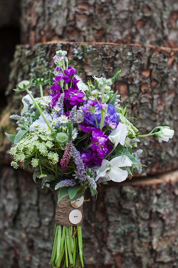 Wildflower Humanist Outdoor Wedding Loch Lomond Wild Flower Purple White Green Bouquet Twine http://laurenmcglynnphotography.com/
