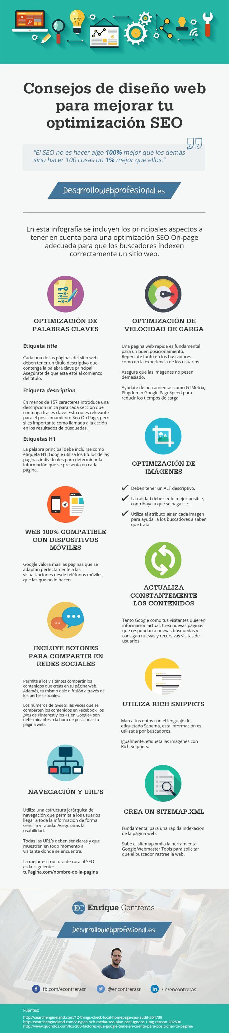 Hola: Una infografía con Consejos de diseño web para mejorar tu SEO. Vía Un saludo