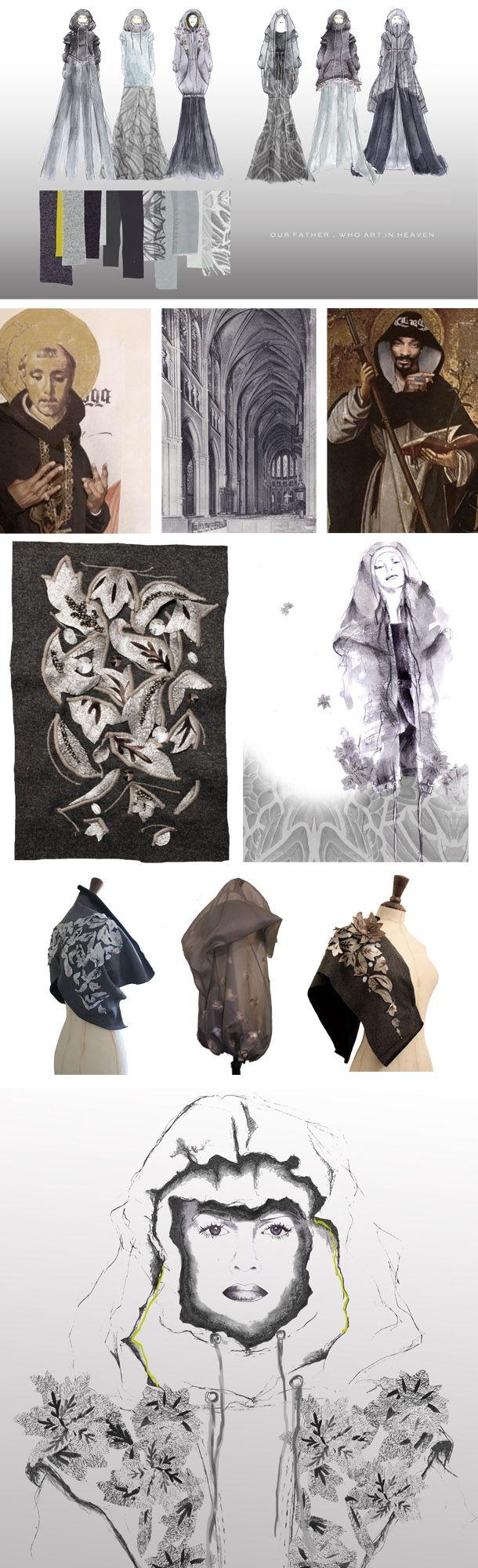 "Fashion design & development of final collection - architecture, religion & culture - the fashion sketchbook; fashion portfolio // Chloe Jones, ""Our Father, who art in Heaven"""
