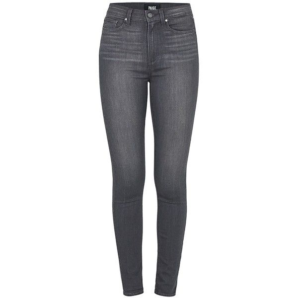 PAIGE Margot Ultra Skinny in Luna Grey ($310) ❤ liked on Polyvore featuring jeans, luna grey, gray jeans, paige denim, grey jeans, frayed skinny jeans and skinny fit denim jeans