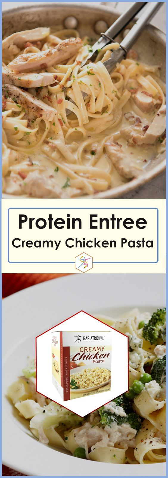 BariatricPal Protein Entree - Creamy Chicken PastaThis perfectly portioned entree lets you enjoy the traditional flavors you love without any of the guilt. It's in portable packaging and ready in minutes. It is an excellent dinner after a long day, and you can have it as a lunch at work to make your colleagues ask how you can be losing weight while eating so well!Highlights:15 grams protein210 calories15% of the daily value for calcium and vitamin A10% of the daily value for ir