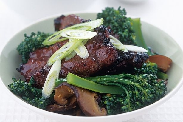 Pork ribs are a perennial favourite- they're quick cooking, inexpensive and tasty. In this recipe, the ribs are given a Chinese makeover and served with stir-fry shiitake mushrooms and broccolini.