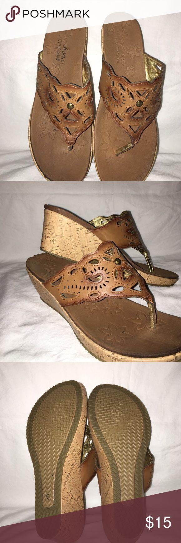 Skechers wedge sandal. Cute wedge sandal. 2 inch wedge. Rarely worn. Skechers Shoes Wedges