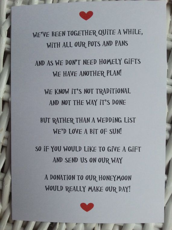 Wedding Poem Money As A Gift Since we already have combined our houses and have plenty of dishes, pots and pans!