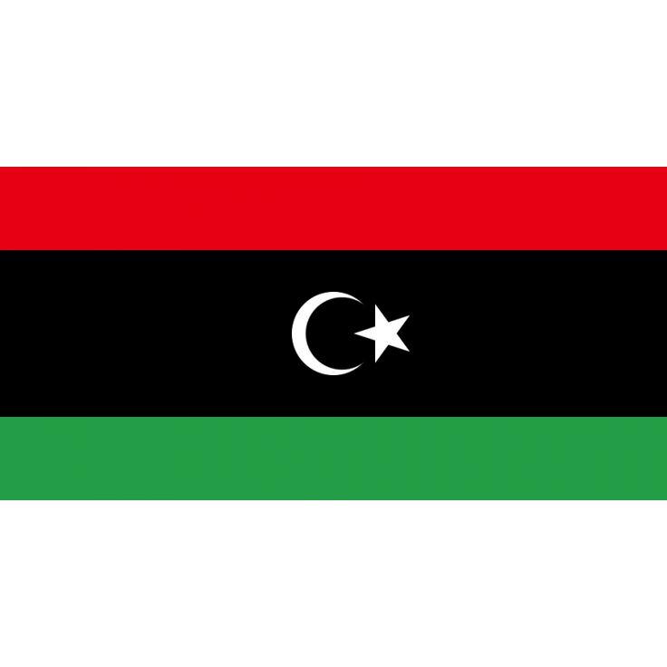 Tafelvlaggen Libië 10x15cm   Libische tafelvlag De huidige vlag van Libië werd in gebruik genomen na de revolutie van 2011 en is dezelfde vlag die tussen 1951 en 1969 ook al in gebruik was. De eerste nationale vlag van het moderne Libië werd in 1951 ingevoerd, toen het Koninkrijk Libië ontstond. Deze vlag was een rood-zwart-groene horizontale driekleur, waarbij de zwarte baan tweemaal groter was dan de andere twee afzonderlijk.