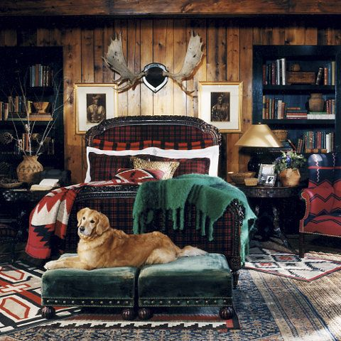 "Ralph Lauren Home Archives, ""Indian Cove Lodge"" Bedroom, Fall 2009  ""Inspired by the beauty of the Great Adirondack Camps, this collection captures an eclectic spirit, layering a mix of the rustic and redined with chic accents of gilded luxury."""