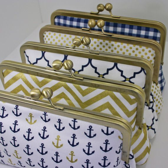 Set of 5 handmade nautical clutch purses - great bridesmaids gift idea for a nautical #wedding