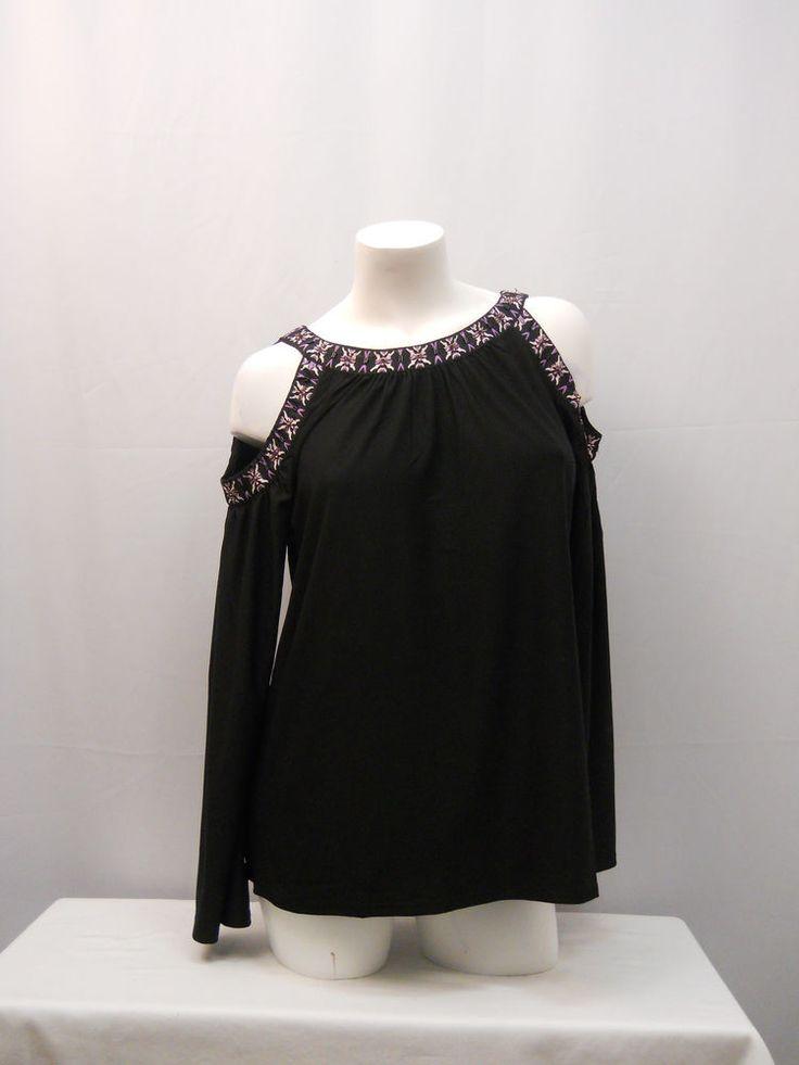 Eci New York Women's Top Size M Black Beaded Neck Dolman Cold Shoulders Sleeves #EciNewYork #KnitTop #Clubwear