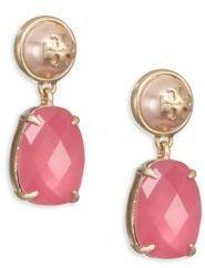 Tory Burch Faux-Pearl & Crystal Drop Earrings