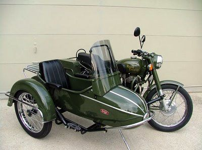 Royal Enfield with side car in military green