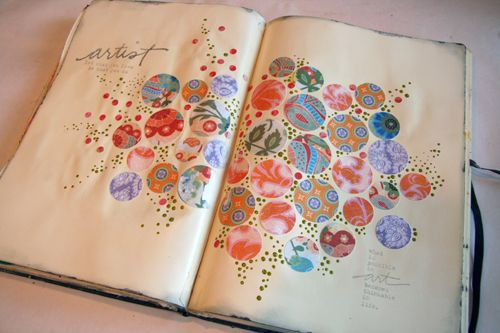 Circle page in a journal, you could write over this or use space around the out side to journal on.