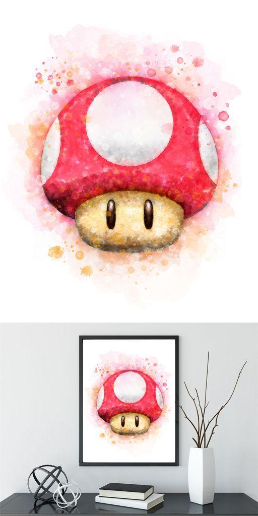 Mario Mushroom Print Super Mario Bros Art Video Game Art Mario Watercolor Mushroom Nursery Decor Super Mario Birthday Party Digital Download   – Super Mario
