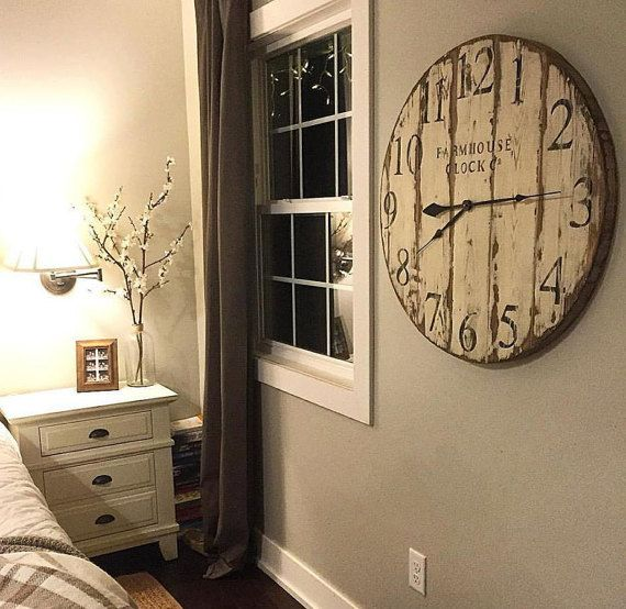 Farmhouse Clock Co. Distressed Large Round by BushelandPeckFarm