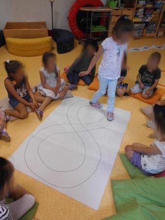 Kinder sammeln sich in der Garderobe und betreten, auf mein Zeichen,  über den Zahlenweg 1-10 , laut zählend, das Zahlenland. Im Hintergrun...