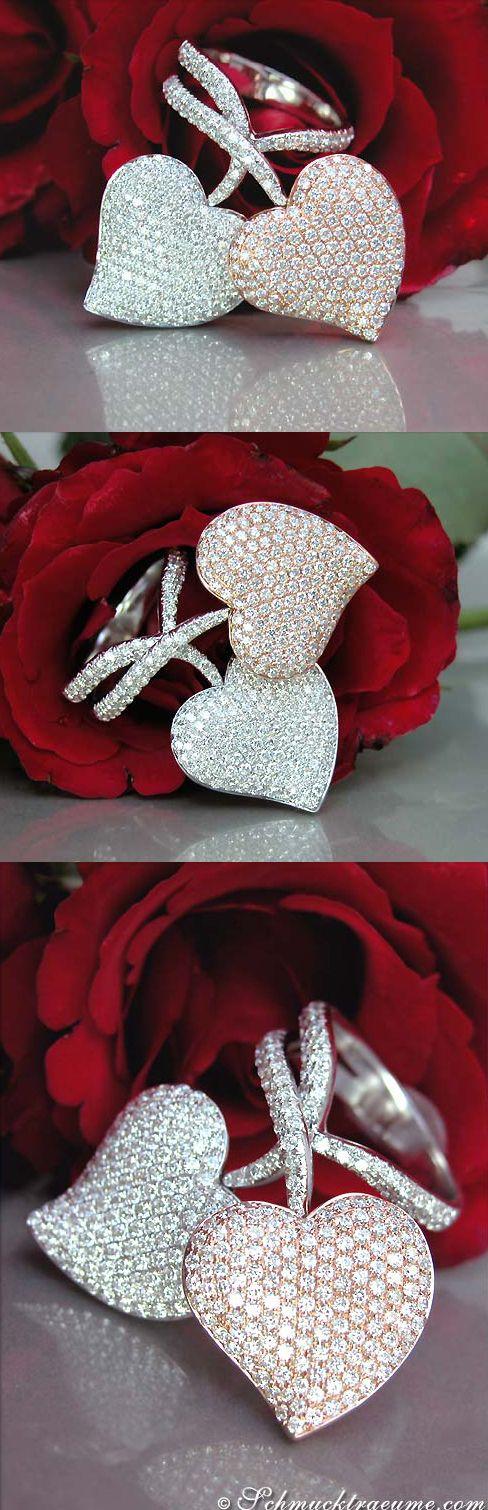 Terrific Diamond Heart Ring, 2,83 cts. g-si/vsi, RG/WG18K