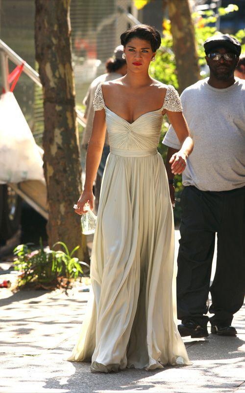 Jessica szohr vanessa abrams silver cap sleeve prom gown for Jessica designs international wedding dresses