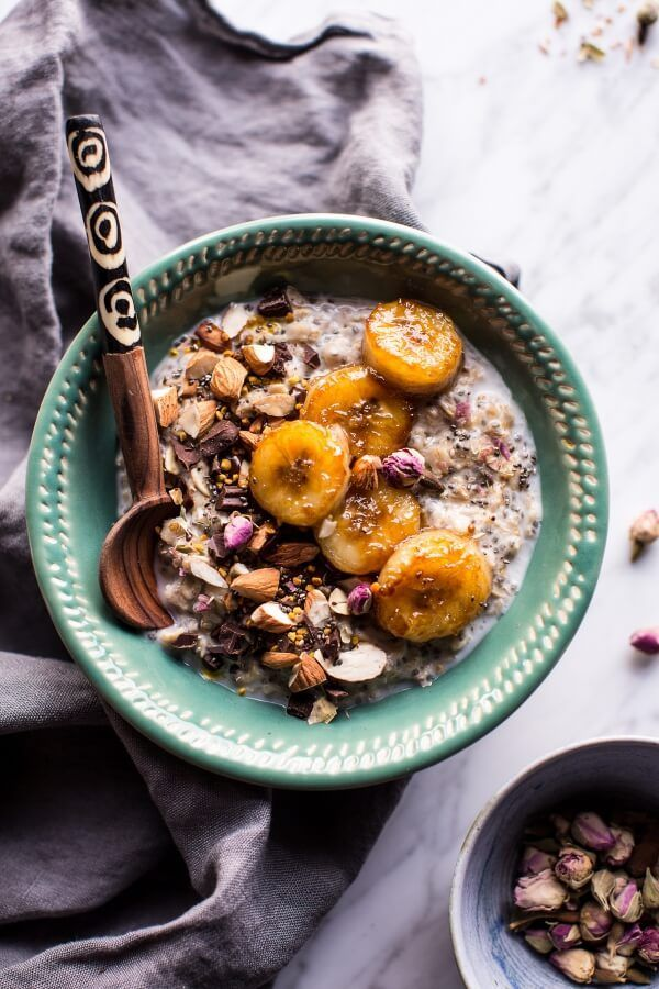 Coconut Chia Oats with Caramelized Bananas - so easy, just simple flavors packed with protein and O-mega 3's plus toppings galore, from halfbakedharvest.com