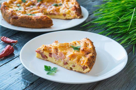 пицца-пирог с колбасой