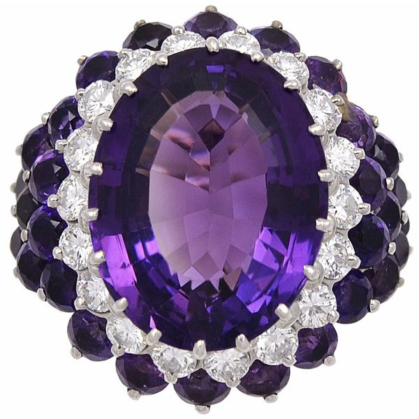 Pre-owned 1940s Amethyst Diamond Gold Cocktail Ring ($16,000) ❤ liked on Polyvore featuring jewelry, rings, cocktail rings, wrap ring, antique rings, purple diamond ring, yellow gold diamond ring and pre owned engagement rings