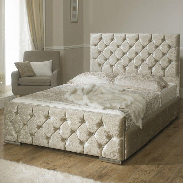 Monaco Diamond Fabric Upholstered Bed Frame