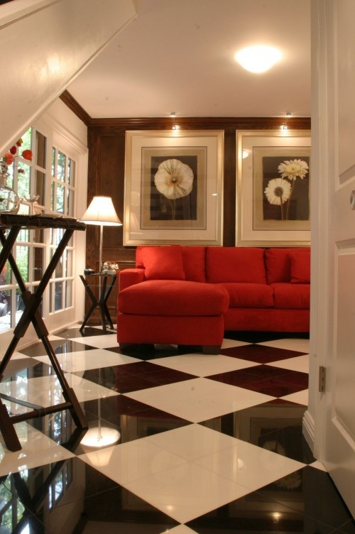 Drama   Contemporary   Family Room   Los Angeles   Tracy Murdock Allied  ASID   Black And White Floor Tiles. Red Couches ...