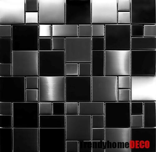 SAMPLE- Unique Black Stainless Steel Pattern Mosaic Tile Kitchen Backsplash Bath | eBay