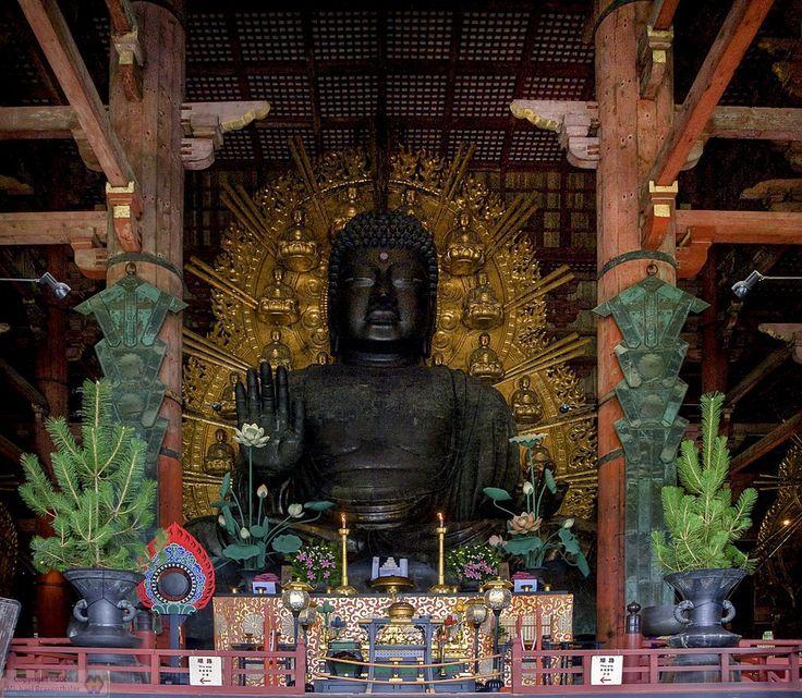 "197. Great Buddha, Todai-ji. Vairocana Buddha (Daibutsu), Nara period, bronze, height 49'1"", face 17'6"", eyes 3'4"", nose 1'7"", ears 8'4"", shoulders 91'9"" across, 996 curls on head, golden halo 87' diameter with 16 8' images, 550 tons. (Image set, 2/5)"